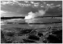 Great Fountain geyser. Yellowstone National Park ( black and white)