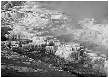Minerva travertine terraces and steam, Mammoth Hot Springs. Yellowstone National Park, Wyoming, USA. (black and white)
