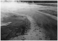 Great prismatic springs, Midway geyser basin. Yellowstone National Park, Wyoming, USA. (black and white)