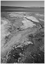 West Thumb geyser basin and Yellowstone lake. Yellowstone National Park, Wyoming, USA. (black and white)
