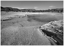 Sapphire Pool, afternoon. Yellowstone National Park, Wyoming, USA. (black and white)