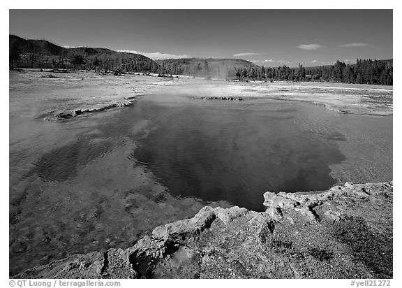 Sapphire Pool, afternoon. Yellowstone National Park (black and white)