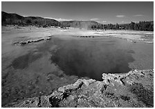 Blue clear waters in Sapphire Pool. Yellowstone National Park, Wyoming, USA. (black and white)