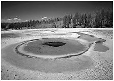 Thermal pool, upper Geyser Basin. Yellowstone National Park ( black and white)