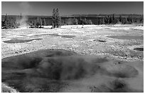 West Thumb Geyser Basin. Yellowstone National Park, Wyoming, USA. (black and white)
