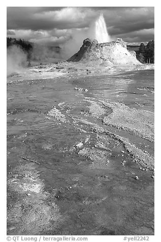 Castle Geyser in Upper Geyser Basin. Yellowstone National Park (black and white)