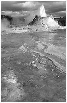 Castle Geyser in Upper Geyser Basin. Yellowstone National Park ( black and white)