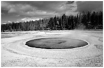 Chromatic Pool in Upper Geyser Basin. Yellowstone National Park, Wyoming, USA. (black and white)