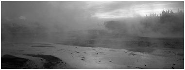 Steam rising in thermal geyser basin a dawn. Yellowstone National Park (Panoramic black and white)