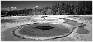 Thermal landscape with pool. Yellowstone National Park (Panoramic black and white)