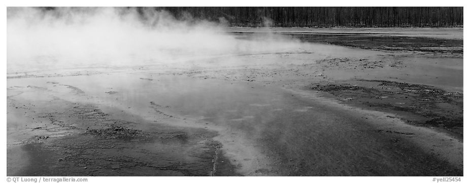 Steam rising from multi-colored thermal springs. Yellowstone National Park (black and white)