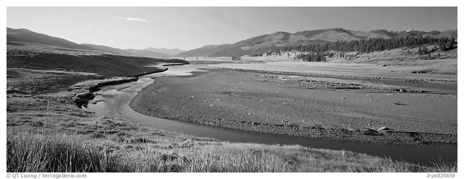 Wide valley and stream in summer. Yellowstone National Park (black and white)