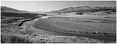 Wide valley and stream in summer. Yellowstone National Park (Panoramic black and white)