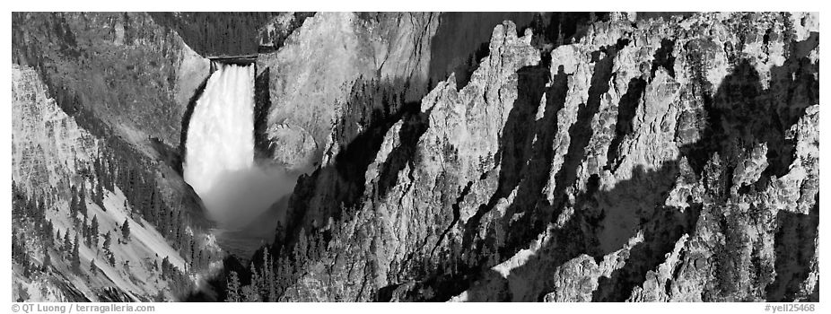 Canyon landscape with waterfall. Yellowstone National Park (black and white)