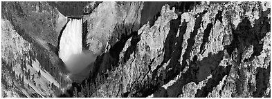 Canyon landscape with waterfall. Yellowstone National Park (Panoramic black and white)