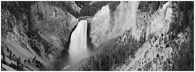 Falls of the Yellowstone River in Grand Canyon of Yellowstone. Yellowstone National Park (Panoramic black and white)