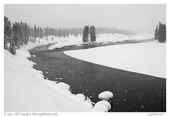 Lewis River in winter. Yellowstone National Park (black and white)