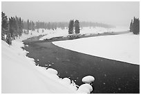 Lewis River in winter. Yellowstone National Park ( black and white)