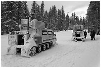 Snowcoaches on snow-covered road. Yellowstone National Park, Wyoming, USA. (black and white)
