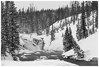 Lewis Falls in winter. Yellowstone National Park ( black and white)