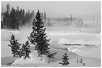 Snow-covered West Thumb thermal basin. Yellowstone National Park, Wyoming, USA. (black and white)