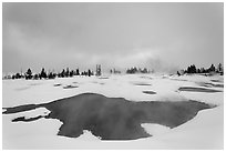West Thumb Geyser Basin in winter. Yellowstone National Park, Wyoming, USA. (black and white)