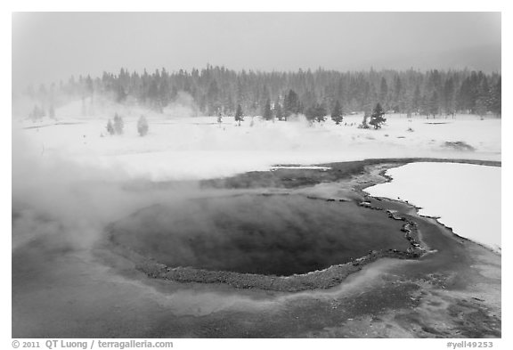 Crested Pool in winter. Yellowstone National Park (black and white)