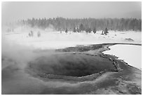 Crested Pool in winter. Yellowstone National Park, Wyoming, USA. (black and white)