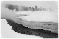 Upper Geyser Basin in winter. Yellowstone National Park, Wyoming, USA. (black and white)