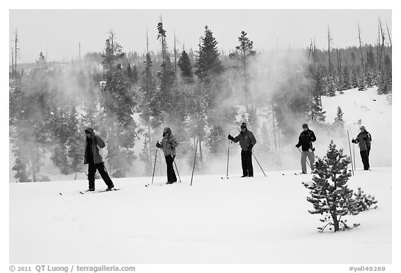 Skiers and thermal steam. Yellowstone National Park (black and white)