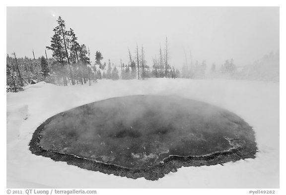 Morning Glory Pool, winter. Yellowstone National Park (black and white)