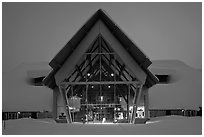 Visitor Center at dusk. Yellowstone National Park, Wyoming, USA. (black and white)