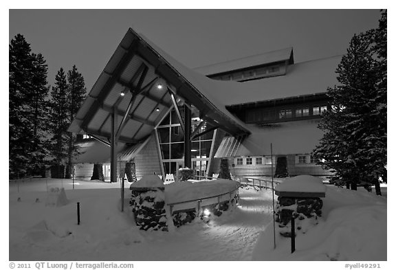 New Visitor Center at night. Yellowstone National Park (black and white)