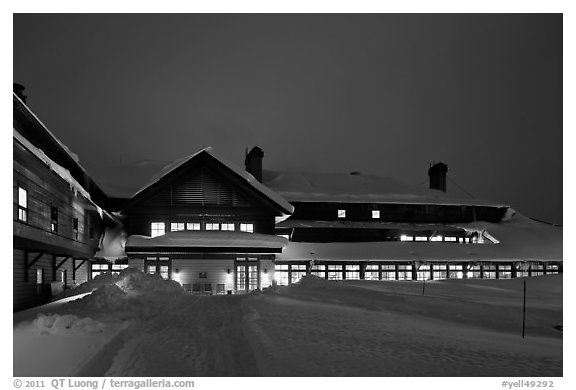 Old Faithful Snow Lodge at dusk, winter. Yellowstone National Park (black and white)
