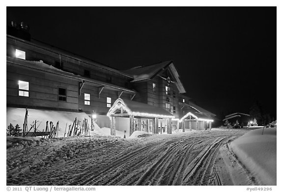 Old Faithful Snow Lodge at night, winter. Yellowstone National Park (black and white)