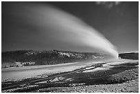 Plume, long night exposure, Old Faithful. Yellowstone National Park, Wyoming, USA. (black and white)