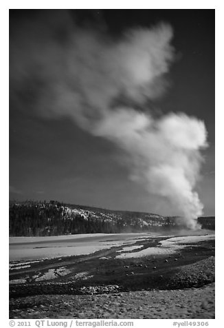 Plume, Old Faithful geyser, winter night. Yellowstone National Park (black and white)