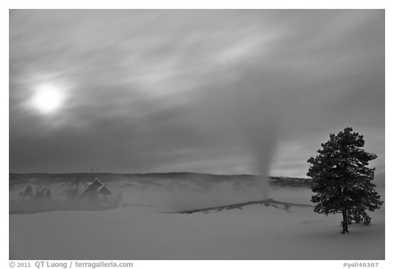 Old Faithful geyser, moon and clouds. Yellowstone National Park (black and white)