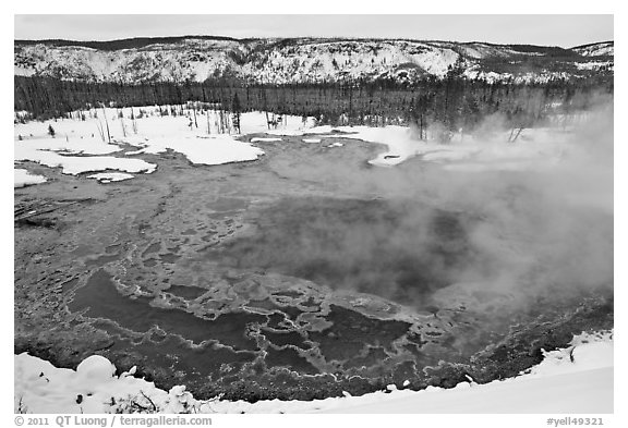 Gem pool seen from above, winter. Yellowstone National Park (black and white)