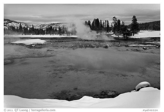 Sapphire Pool in winter. Yellowstone National Park (black and white)