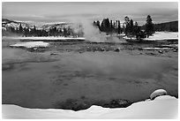 Sapphire Pool in winter. Yellowstone National Park, Wyoming, USA. (black and white)