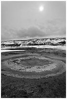 Mustard Spring. Yellowstone National Park, Wyoming, USA. (black and white)