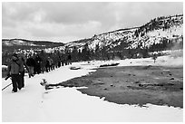 Large group of visitors in winter. Yellowstone National Park, Wyoming, USA. (black and white)