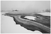 Mirror Pool, snow and steam. Yellowstone National Park ( black and white)