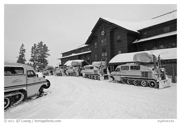 Winter Snowcoaches in front of Old Faithful Snow Lodge. Yellowstone National Park (black and white)