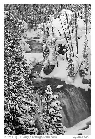 Kepler Cascades of the Firehole River in winter. Yellowstone National Park (black and white)