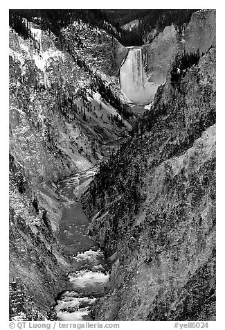 Falls of the Yellowstone river in Grand Canyon of the Yellowstone. Yellowstone National Park (black and white)