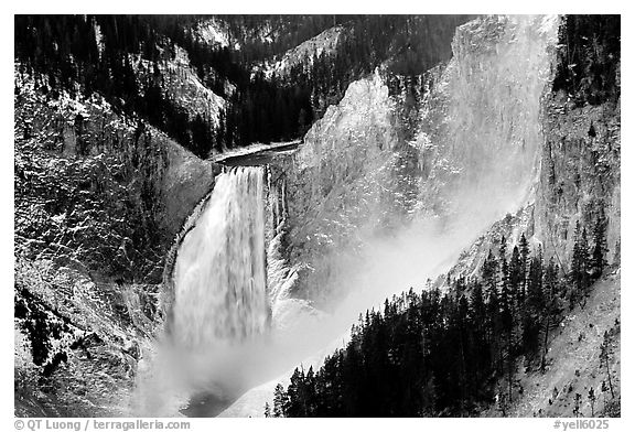 Mist raising from falls of the Yellowstone river. Yellowstone National Park (black and white)