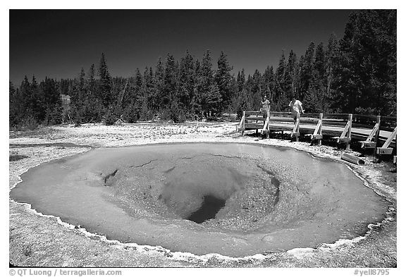 Morning Glory Pool with hikers. Yellowstone National Park (black and white)