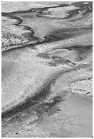 Detail of colorful algaes, Biscuit Basin. Yellowstone National Park, Wyoming, USA. (black and white)